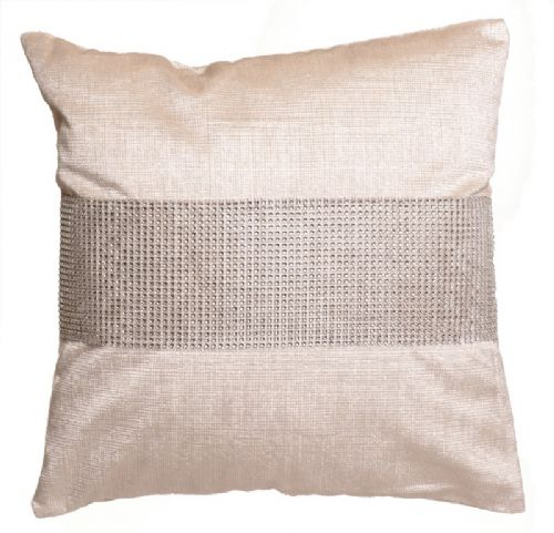 STUNNING DIAMANTE VELVET CUSHION CREAM COLOUR